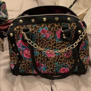 Betsey Johnson leopard and pink roses hand bag